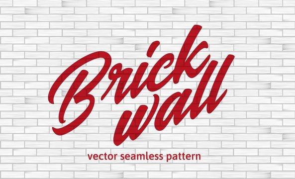 White brick wall texture. Seamless pattern.