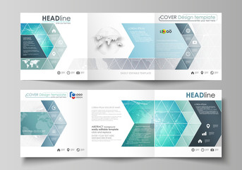 The minimalistic vector illustration of editable layout. Two modern creative covers design templates for square brochure or flyer. Chemistry pattern. Molecule structure. Medical, science background.