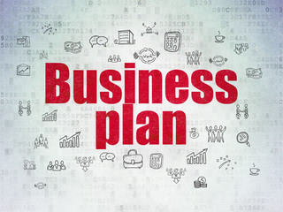 Business concept: Business Plan on Digital Data Paper background