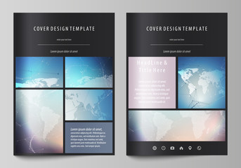 Black colored vector illustration of editable layout of A4 format covers design templates for brochure, magazine, flyer, booklet. Polygonal geometric linear texture. Global network, dig data concept.