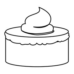 sketch contour of hand drawing cake with buttercream decorative