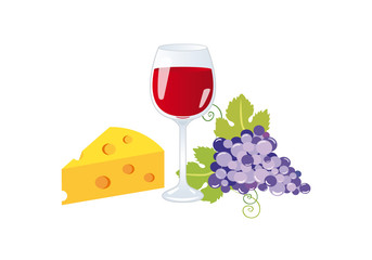 Wine and cheese vector. Wine on a white background. Still life with wine, grapes and cheese