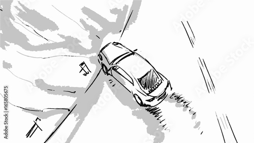 Car Speeding Top View Vector Sketch Illustration For Advertise