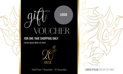 Premium gift certificate for a spa, beauty salon, shops, cosmetics and restaurants. Gift voucher. Discount card. Vector illustration of modern design.
