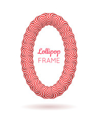 Lollipop red frame. Border to display favorite memories and pictures, share photo. Realistic mockup vector illustration on white background