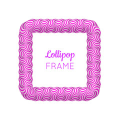 Lollipop violet square frame. Candy design for photo album and scrapbook to store favorite memories and pictures. Realistic vector illustration on white background