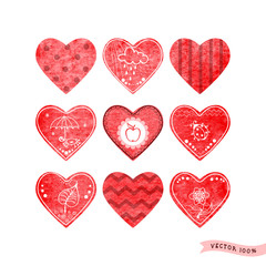 Set of nine vector hearts with different patterns and designs. Watercolor background. Hand drawing.