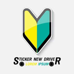 Sticker for new drivers, vector illustration