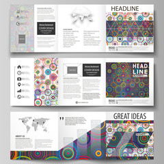 Set of business templates for tri fold square design brochures. Leaflet cover, abstract flat layout, easy editable vector. Bright color background in minimalist style made from colorful circles.