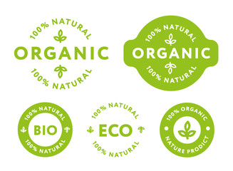 Collection of Green Healthy Organic Natural Eco Bio Food Products Label Stamp.  Wall mural