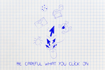 computer mouse with pointer arrows surrounded by cyber threats