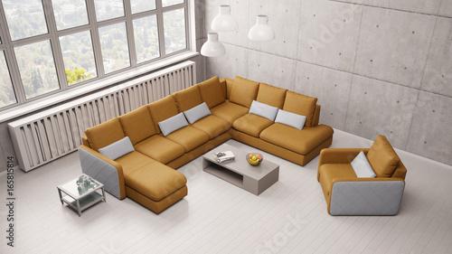 Wohnzimmer mit sofa im loft von oben imagens e fotos de for Sofa von oben