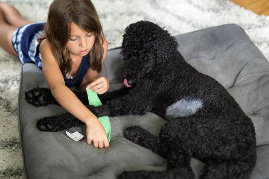 Girl nursing dog