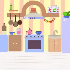 Cute cozy kitchen, flat cartoon interior background