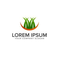 grass logo. landscaping garden logo design concept template