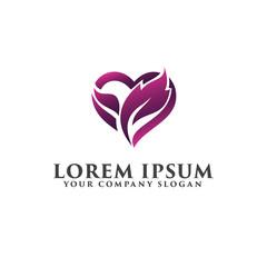 leaf love heart logo, romantic logo design concept template