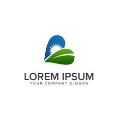 leaf sun logo design concept template