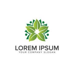 leaf decoration logo design concept template
