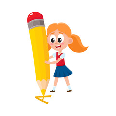 Little girl writing, drawing letter A with huge pencil, cartoon vector illustration isolated on white background. Girl writing, drawing letter A with giant pencil, back to school concept