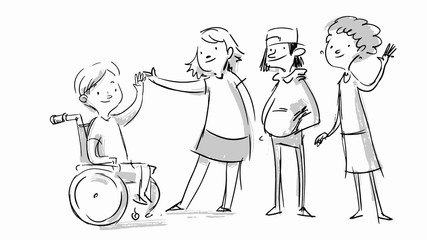 Little boy in a wheelchair. Kid with disabilities greeting people. Social message. Vector sketch