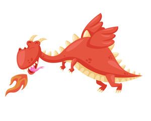 Cute Happy Flying Baby Dragon Illustration