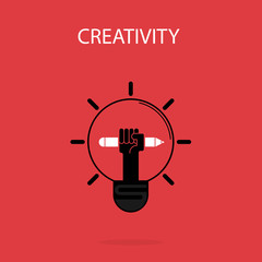 Creative bulb light idea and pencil hand icon,flat design.Concept of ideas inspiration, innovation, invention, effective thinking. Business ,knowledge and education concept.Vector illustration
