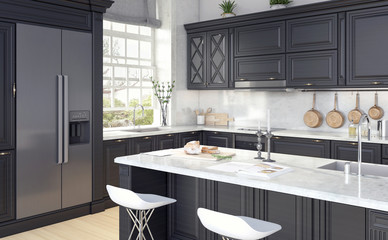 Classic design of kitchen 3D Rendering