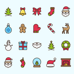 Christmas Holidays Minimalistic Color Flat Line Stroke Icon Pictogram Illustration Set Collection