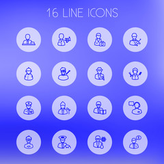 Set Of 16 Job Outline Icons Set.Collection Of Policeman, Taxi, Soldier And Other Elements.