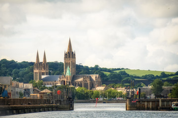 Truro Cathedral from the water in Cornwall England UK kernow.