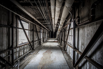Covered bridge in an abandoned factory