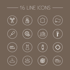 Set Of 16 Stitch Outline Icons Set.Collection Of Tailor, Fabric, Pincushion And Other Elements.