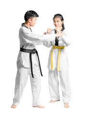 Portrait of an asian man professional taekwondo black belt degree (Dan) teaching to woman's yellow belt degree. Isolated full length on white background with copy space and clipping path