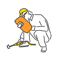 Labor. Builder and worker in various poses. hand drawn. line drawing. vector illustration.