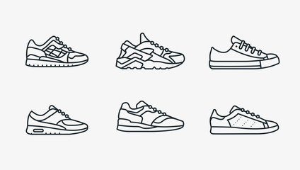 Sneaker Shoe Minimalistic Flat Line Outline Stroke Icon Pictogram Symbol Wall mural