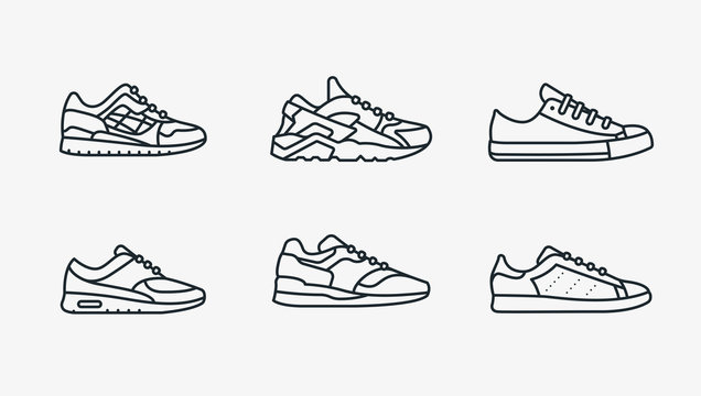 Sneaker Shoe Minimalistic Flat Line Outline Stroke Icon Pictogram Symbol