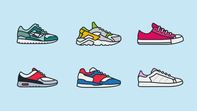 Sneaker Shoe Minimalistic Color Flat Line Outline Stroke Icon Pictogram Symbol