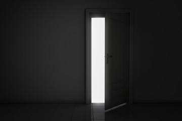 An open door, behind bright light
