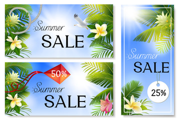 Summer sale banners with palm leaves and tropical flowers