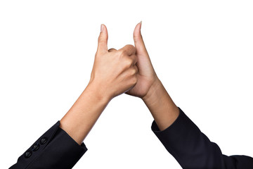Two businesswoman holds her thumb up for business achievement, success, teamwork. Symbol for hand business success isolated on white background.