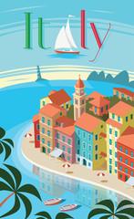Italian coastal town Portofino landscape