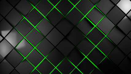 grey and green squares modern background 3d render illustration Wall mural