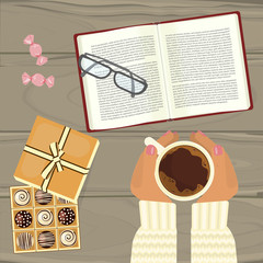 People hands with cup of hot coffee, chocolate and book on wooden table. Top view vector illustration eps 10