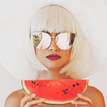 Beautiful lady with watermelon