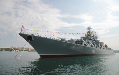 The Russian missile cruiser Moskva is seen during a rehearsal for the Navy Day parade in the Black Sea port of Sevastopol