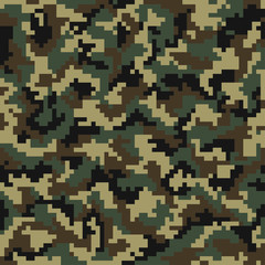 Camouflage pattern. Digital camouflage seamless pattern. Pixel camo in wooden style