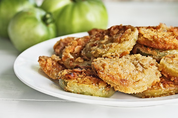 Plate of Golden Fried Green Tomatoes