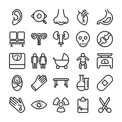 Medical, Health and Hospital Line Vector Icons 3