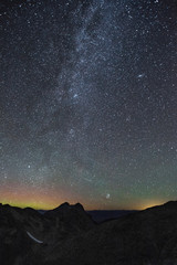 Stars in the night sky over the Rocky Mountains