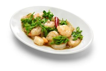stir-fried Tonkin jasmin flowers and shrimp, vietnamese cuisine isolated on white background